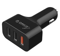 מטען לרכב ORICO מקורי ומהיר 5V 9V 12V בתקן QUALCOMM QUICK CHARGE 2.0 עם 3 כניסות USB בהספק 3