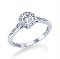 """טבעת אירוסין זהב לבן """"כרמן"""" 0.51 קראט בעיצוב יוקרתי ונוצץ"""