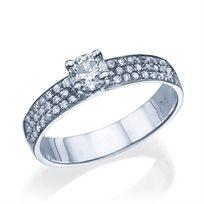 """טבעת אירוסין """"קלואי משובצת"""" 1.01 קראט זהב לבן"""