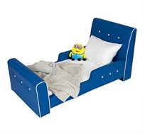 מיטת מעבר לילדים דגם כחול רויאל בשילוב כפתורים דמוי קריסטל קוקולה