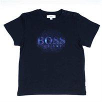 BOSS בוס (6-9 חודשים) חולצת טישרט סמל אפליקציה באמצע - כחול