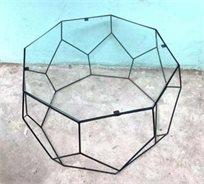 סט 2 שולחנות גאומטריים ב2 גדלים זכוכית שקופה עם ברזל בצבע שחור