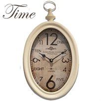 שעון קיר מעוצב בסגנון וינטאג' BOND LONDON עם מסגרת מתכת צבועה בגוון שמנת