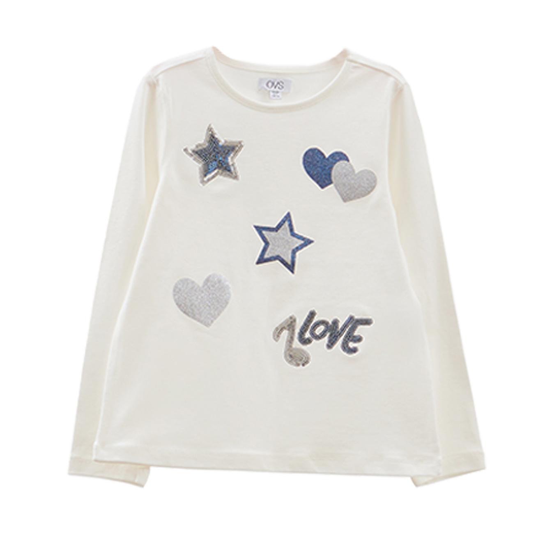 חולצה OVS עם הדפס נוצץ לילדות - לבן/כחול