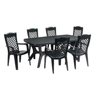 פינת אוכל למרפסת ולגינה הכוללת שולחן ו-6 כיסאות בצבעים לבחירה KETER