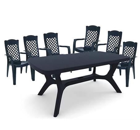 פינת אוכל למרפסת ולגינה הכוללת שולחן ו-6 כיסאות בצבעים לבחירה KETER - תמונה 2