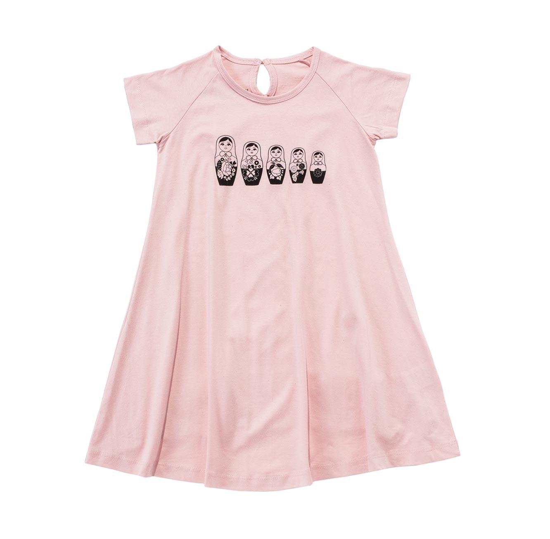 שמלת ג'רזי פעמון  - ורוד בשילוב הדפס בבושקות