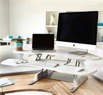 שולחן כתיבה עומד לחדרון פינתי הכולל משטח עבודה גדול שמסוגל להכיל מערכות דו מסכיות VARIDESK  - משלוח חינם