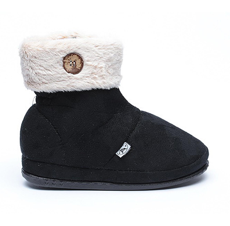 נעלי בית דפנה לאישה דגם מיכל כפתור - שחור