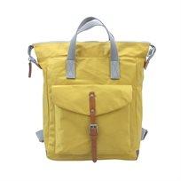 Roka - תיק גב מעוצב צהוב עם חגורת אבזם חומה