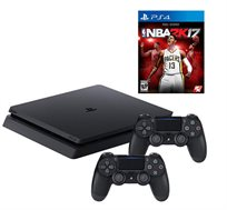 קונסולה Playstation 4 SLIM בנפח 1TB כולל 2 בקרים רוטטים NBA2K 2017 וסטנד שולחני מתנה