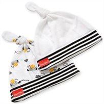 סט 2 כובעים לתינוק כותנה טריקו - לבן אריה