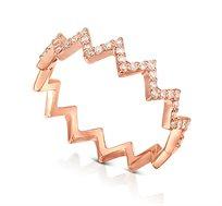 טבעת זהב 14K משובצת 35 יהלומים במשקל כולל של 0.21 נקודות
