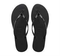 כפכפי נשים HAVAIANAS מטאליק עם רצועות מבריקות בצבע שחור