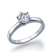 """טבעת אירוסין סוליטר זהב לבן  """"יולי""""  0.51  קראט"""