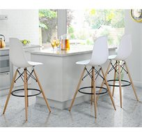 כסא בר בעיצוב מודרני רגליים עץ בשילוב מתכת
