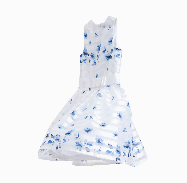 שמלה חגיגית לילדות OVS עם פרחים - לבן