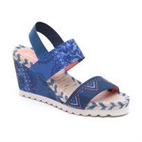 Desigual Shoes Ibiza Denim Beach - סנדל פלטפורמה לנשים בהדפס אופנתי בצבע כחול