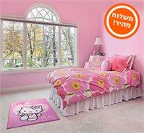 """מותג השטיחים לחדרי ילדים הלו קיטי בגודל 95/133 ס""""מ עם תשתית מיוחדת למניעת החלקת השטיח על הרצפה"""