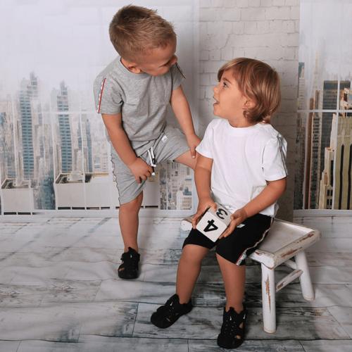 Oro חליפת טריקו (3 חודשים-6 שנים) - אפור סרט בכתפיים