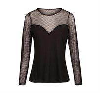 חולצת סאטן MORGAN עם שרוולים ארוכים ושקופים בצבע שחור
