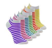 חבילת 6 זוגות גרביים לבנות עם פסים צבעוניים NEW BALANCE GIRLS '6-Pack SOCKS N850-6EUSTRIPE