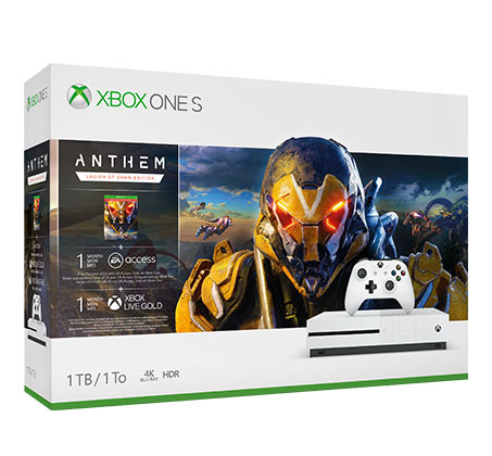 קונסולה Xbox One S נפח 1TB+משחק Anthem Legion Of Dawn Edition  יבואן רשמי
