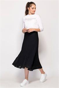 חצאית סריג פליסה בשילוב לורקס