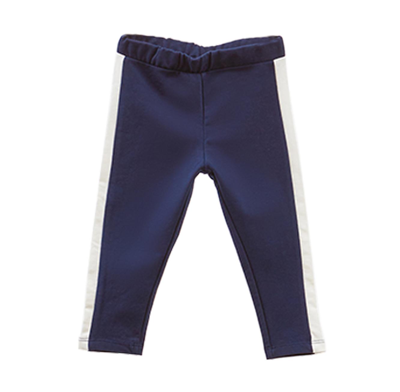מכנסי כותנה סטרצ'ים עם פסים בצדדים OVS לילדות - שחור
