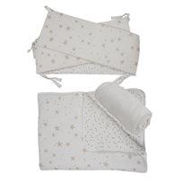 סט מצעים למיטת תינוק, שמנת כוכבים בז' - מיננה
