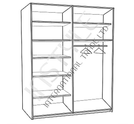 ארון הזזה 2 דלתות עם פס תליה ומדפים רוחב 160 ס