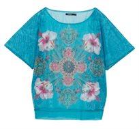 חולצה קצרה Sole לנשים - כחול