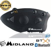 דיבורית Bluetooth A2DP לאופנועים, מסנן רעשים, שיחות אינטרקום בין רוכב למורכב ועמיד בגשם MIDLAND BTX1 - משלוח חינם!