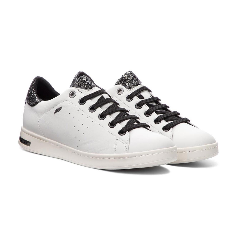 נעלי סניקרס GEOX לנשים D JAYSEN A - NAPPA+GLIT.TEXT - לבן/כסוף