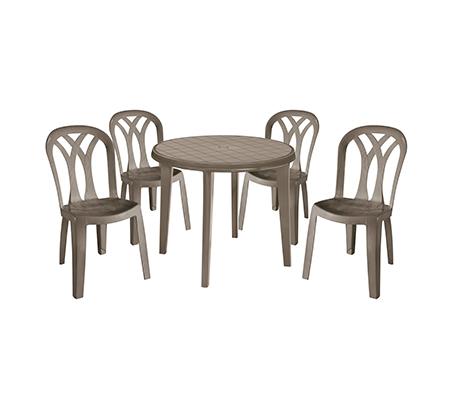 סט אירוח המורכב משולחן עגול LISA כולל 4 כיסאות PATIO נוחים במיוחד במגוון צבעים לבחירה KETER - תמונה 3