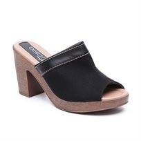 Beira Rio - נעלי פלטפורמה לנשים עם פתח לאצבעות בצבע שחור