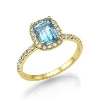 טבעת יהלומים זהב צהוב בשיבוץ טופז כחולה ויהלומים