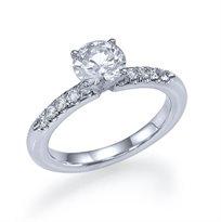 """טבעת אירוסין זהב לבן """"ניקי"""" 0.65 קראט בעיצוב קלאסי ונקי"""