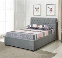 מיטה בגודל זוגי מעוצבת בריפוד בד אפור עם ארגז מצעים מעץ דגם קים HOME DECOR