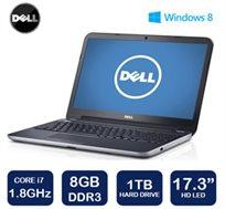"""מחשב נייד """"17.3 מבית DELL עם מעבד i7, זכרון 8GB, דיסק קשיח בנפח 1TB ו-WIN8"""