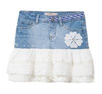 חצאית ג'ינס בשילוב אריג תחרה לילדות Desigual דגם Calella בגוון ג'ינס כחול/לבן