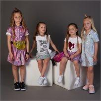 גופיית ORO לילדות (מידות 2-7 שנים) לבן כיתוב