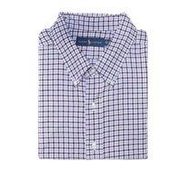 חולצה מכופתרת עם שרוול ארוך לגבר POLO RALPH LAUREN מידות גדולות עם משבצות חום תכלת לבן