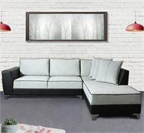 ספה פינתית בריפוד דמוי עור משולב בבד דגם אלטיאה