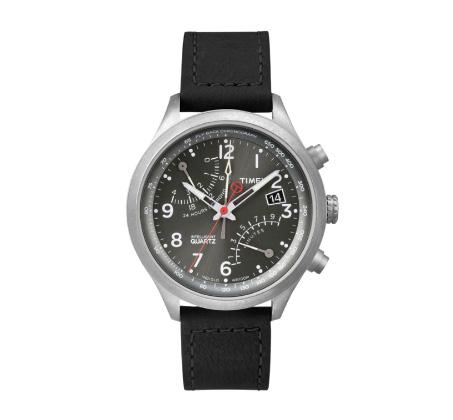 שעון יד אנלוגי לגברים עם תאורה ורצועת עור שחורה