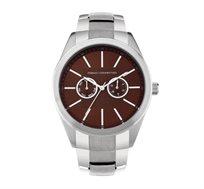 שעון יוקרתי לגבר French Connection עם רצועת סטיינלס סטיל - כסוף/חום