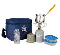 ערכת קפה מקצועית המכילה כירת גז + מיכל, פינג'ן 3 כוסות ו2 קופסאות אחסון