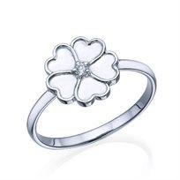 """טבעת יהלום """"לבבות"""" משובצת יהלום זהב לבן"""