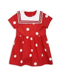 MINI RODINI// Dot woven sailor dress red