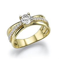 """טבעת אירוסין זהב צהוב  """"קמרון"""" 1.10 קראט F/Si1"""